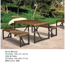 dining table and chair made of rattan top and metal frame