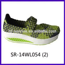2014 nuevos estilos SR-14WL054 mezclan los zapatos tejidos a mano de la correa de los colores de la mezcla