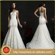 AMS16 Elegant and Romantic Beaded Bridal Gown Strapless Fishtail Lace Luxury Wedding Dress