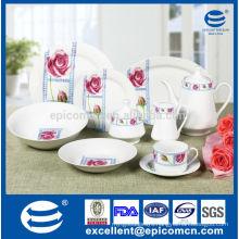 blooming rose decor 47pcs household porcelain round dinner service set with tea set
