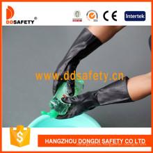 Guantes de trabajo de la industria del látex negro pegado Ce DHL501