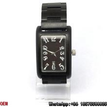 Top qualidade de ébano de madeira relógio retângulo quartzo relógios Hl15