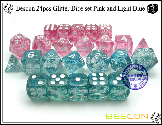 Bescon 24pcs Glitter Dice set Pink and Light Blue-7