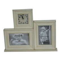 Wooden Picture Frame with Clock for Home Deco