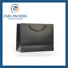 Cosmetic Paper Bags Handle Gift Black Carrier Bag (CMG-PGBB-008)