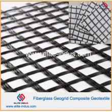 Revestimento asfáltico Geogrelha de fibra de vidro e composto de drenagem geotêxtil