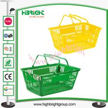 Panier à provisions en plastique de double poignée pour le supermarché
