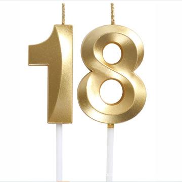 Happy Number Golden Metallic Birthday Candle Christmas candle