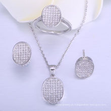 conjuntos de jóias de casamento para noivas jóias set 925 colar e anel de prata esterlina