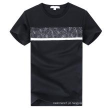 T-shirt em torno do pescoço em torno do algodão dos homens por atacado