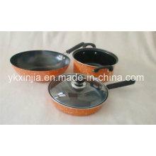 Utensílios de cozinha em aço carbono Mármore Coating Cookware Set