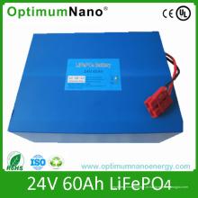 Pacotes recarregáveis da bateria de 24V 60ah LiFePO4 para o sistema de energia solar