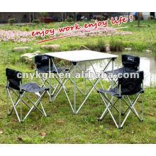 Mesa de campismo de alumínio e cadeiras de fihsing