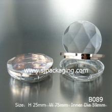 Diamante simple caja de polvo compacto caja de polvo redondo de plástico contenedor de polvo cosmético componga polvo compacto