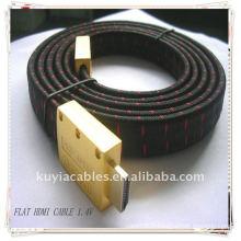 Nouveau câble plaqué or câble 1.4v MM câble plat HDMI avec veste en nylon