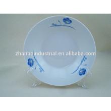 Flor azul porcelana decalque placa de cena profunda