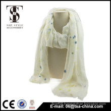 very soft color point white viscose women shawl spring scarf
