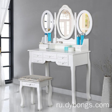 modern Large-capacity movable white dressing table furniture