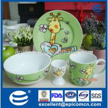 Cartoon 4pcs durable ceramic breakfast dinnerware for children with egg holder