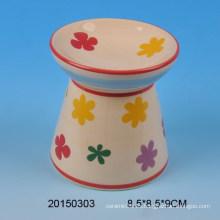 Hogar quemador de incienso de cerámica con diseño de flores