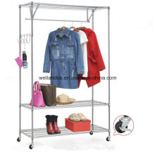 DIY Space Save Steel Clothes Wardrobe Rack with Wheels