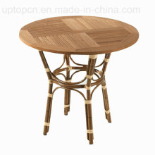 Commercial Outdoor Wooden Top Wicker Base Cafe Table (SP-AT222)