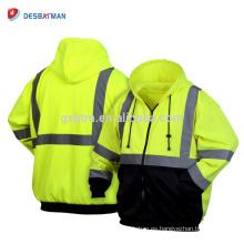 Sudadera con capucha y cremallera completa para hombre con cremallera completa de trabajo de seguridad para hombre Hi-Vis de unisex