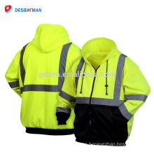 Adult Unisex Mens Hi-Vis Safety Work Wear Hoodie Full Zip Jumper Jacket Reflective Sweatshiet Top