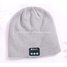 PK18ST016 plain knitted solid colour wireless earphone hats