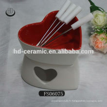 Fondue en céramique à base de chocolat, fondue en céramique avec fourchette, outil à fromage cuvette en céramique avec support
