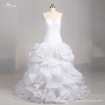 LZ158 Alibaba A Line Ruffle Sleeveless Dress Illusion Wedding Dresses Lace Sweetheart