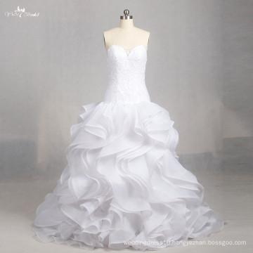 LZ158 Alibaba A Line Ruffle Sleeveless Dress Illusion Wedding Dresses Lace Sweetheart