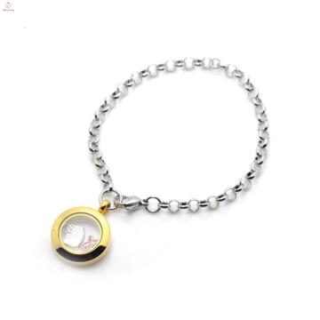 OEM и ODM приемлемо плавающей медальон с шармами браслет для мужчин
