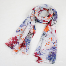 China Scarf Factory Cotton Voile Flower Scarf