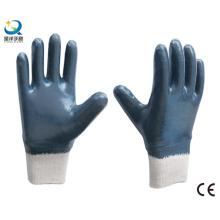 Cotton Interlock Shell Nitrile Full Coated Safety Work Gloves (N6039)