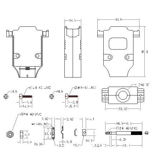 DBZU-15XX2 2 D-SUB METAL HOODS,15P, U TYPE,LONG SCREW
