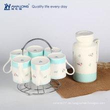 Einzigartige funky Keramik Teekannen zum Verkauf / große Kapazität frische hellblaue Teekanne und Becher Set