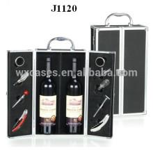 2 botellas nuevo diseño de caja de aluminio vino de China