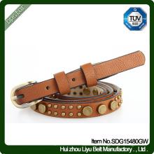 Cinto de couro genuíno Bracelete feminino de rebite vintage Cintos de couro Skinny Fashion Women Cowhide
