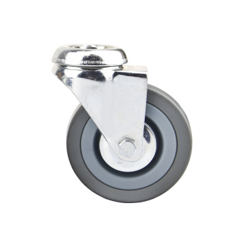 Bolt Hole Grey Rubber Light Duty Caster