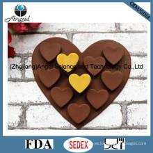 Bandeja caliente Si01 del cubo del molde del hielo del silicón del corazón del molde del chocolate del silicón de la venta