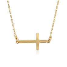 44712 Xuping 18k bijoux nouveau design plaqué or 18 carats en forme de croix catholique collier
