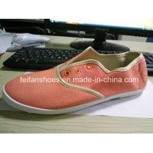 Estoque barato sapatos casuais senhora sapatos de lona de injeção (ff329-9)