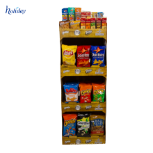 Présentoir de palette de carton de promotion de supermarché pour des puces, affichage ondulé de palette de la publicité de carton