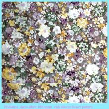 Tela de rayón de algodón sintético con estampado de flores en toda su extensión