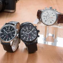 Big Dial Man Watch Relógio de mão de couro de homens