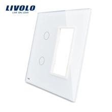 Livolo Белый 125 мм * 125 мм США стандарт Двойная стеклянная панель для продажи для настенного сенсорного выключателя розетка VL-C5-C2 / SR-11