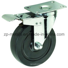 Roulettes en caoutchouc noir biaxial de taille moyenne de 4 pouces avec frein