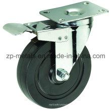 Среднего размера 4-дюймовый Двухосный черный резиновый Рицинус колеса с тормозом