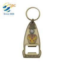 Design personalizado liga de zinco peças de metal chaveiro abridor de garrafas
